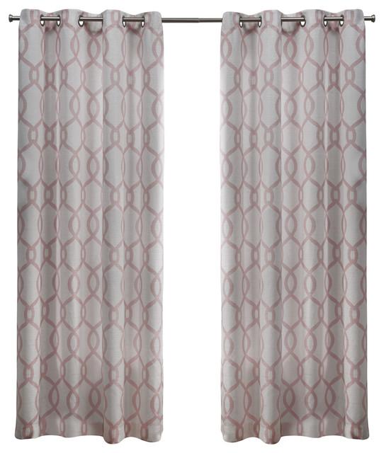 Kochi Linen Blend Grommet Top Window Curtain Panel Pair 54x108 Blush