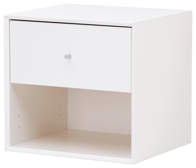 Single Drawer Low Storage Box, White contemporary-nightstands-and-bedside- tables
