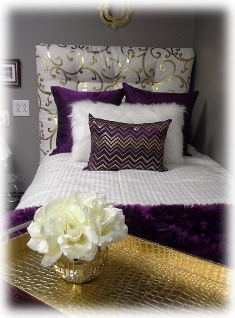 Purple Gold And Cream Dorm Room With Tufted Headboard