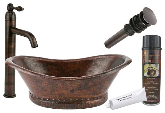 Bath Tub Vessel Hammered Copper Sink