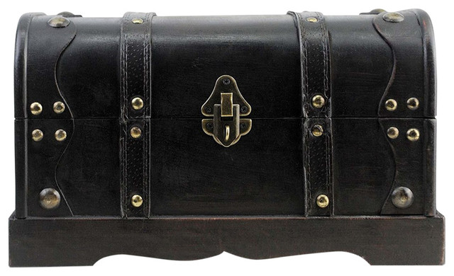 Traditional Treasure Storage Chest, Black Solid Wood With Lock Pirate Design