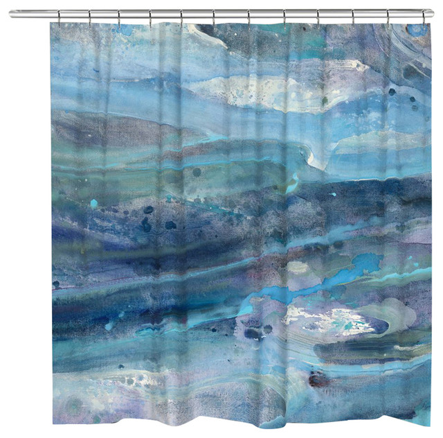Laural Home Rolling Waves Shower Curtain - Beach Style - Shower ...