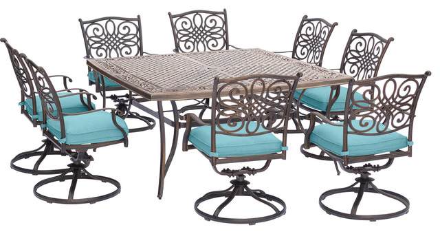 Traditions 9-Piece Square Dining Set In Blue.