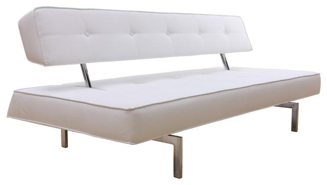 Leatherette Sofa Bed, White.