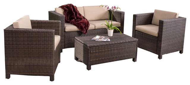 Ordinaire Venice 4 Piece Outdoor Wicker Sofa Set With Cushions