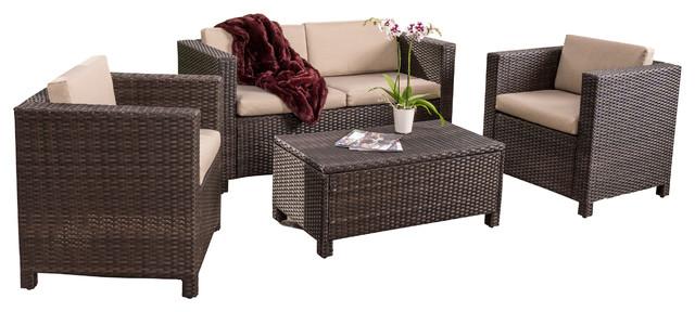 Venice 4 Piece Outdoor Wicker Sofa Set, Dark Brown Transitional . Part 54