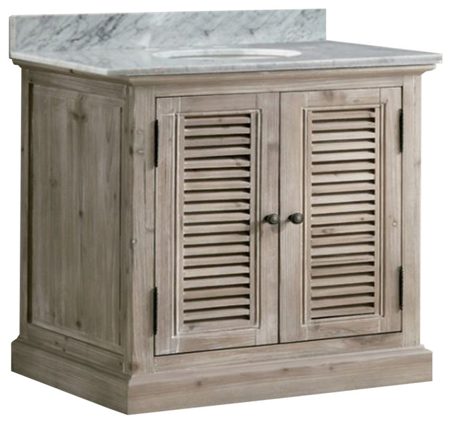 Wendell Single Sink Bathroom Vanity With Carrara White Marble Top 36 Farmhouse Bathroom Vanities And Sink Consoles By Infurniture Inc