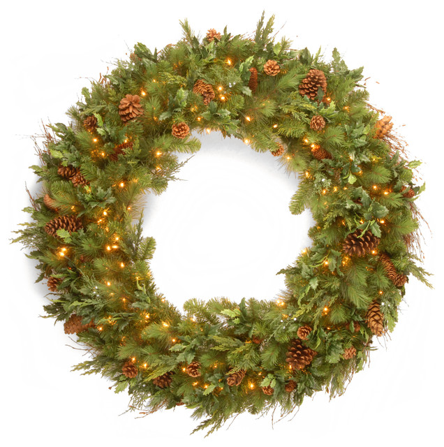 48 Decorative Collection Juniper Mix Pine Wreath With 200 Warm White Led Lights.