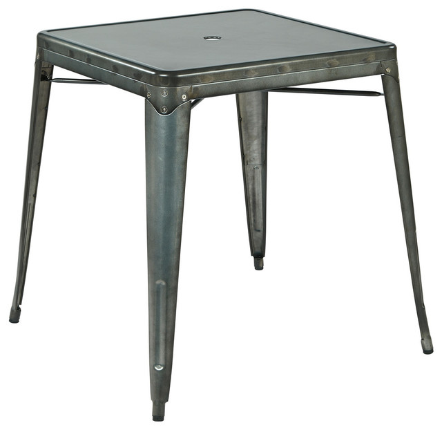 Bristow Metal Dining With Umbrella Hole Center Placement Table in