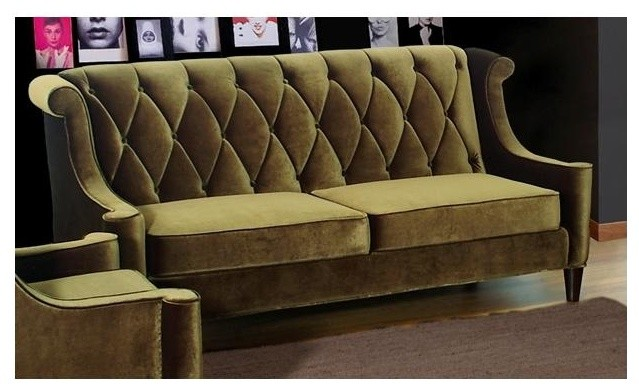 Barrister Diamond Tufted High Back Sofa in Olive Green ...