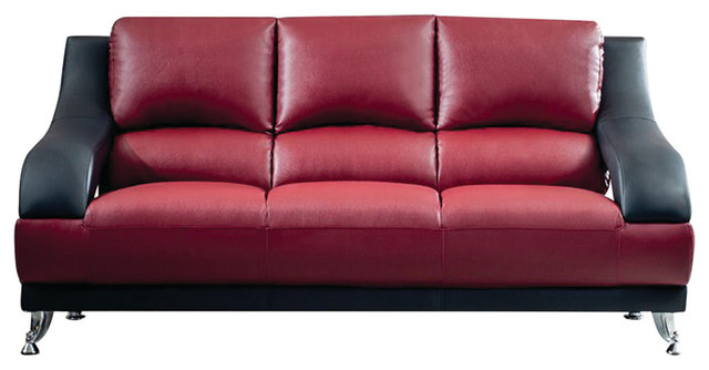 Vance Leather Sofa, Maroon And Black.
