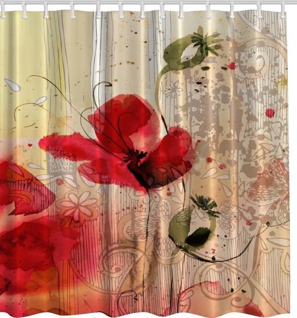 Red Poppy Flower Digital Art Fabric Shower Curtain