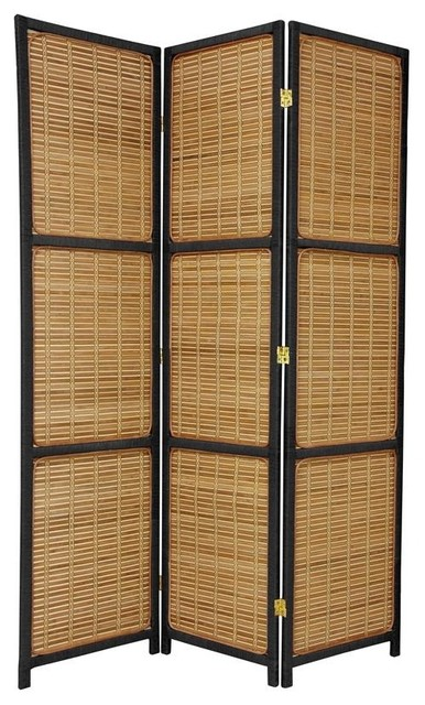 "3 Panel Solid Wood Screen Room Divider Blinds Shades: Oriental Furniture Tropical 70.75"" Tall"
