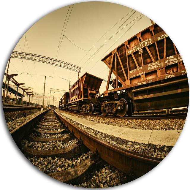 Railway Tracks In Ukraine, Landscape Photo Disc Metal Wall Art, 11