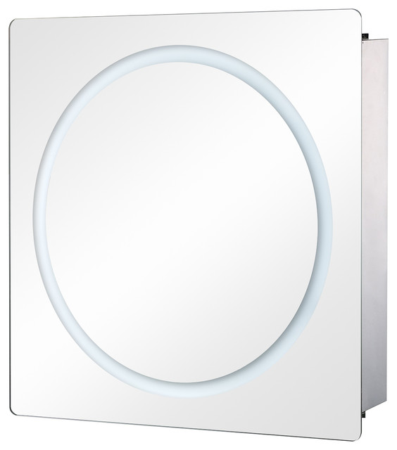 "28""x24"" Led Ring Sliding Bathroom Mirror/medicine Wall Cabinet."
