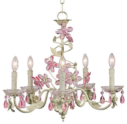 5-Arm Crystal Flower Chandelier