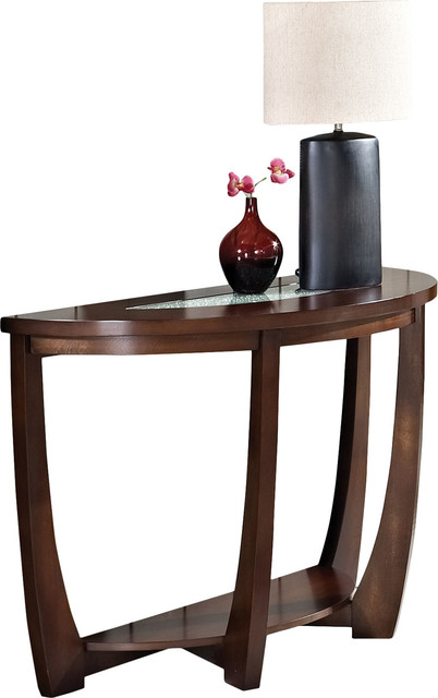 Steve Silver Company Rafael Sofa Table In Cherry With Cracked Glass Insert Transitional