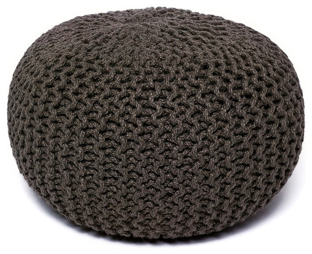 jute round pouf transitional floor pillows and poufs. Black Bedroom Furniture Sets. Home Design Ideas