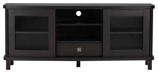 "Walda Dark Brown Wood Tv Cabinet With 2 Sliding Doors And 1 Drawer, 60""."