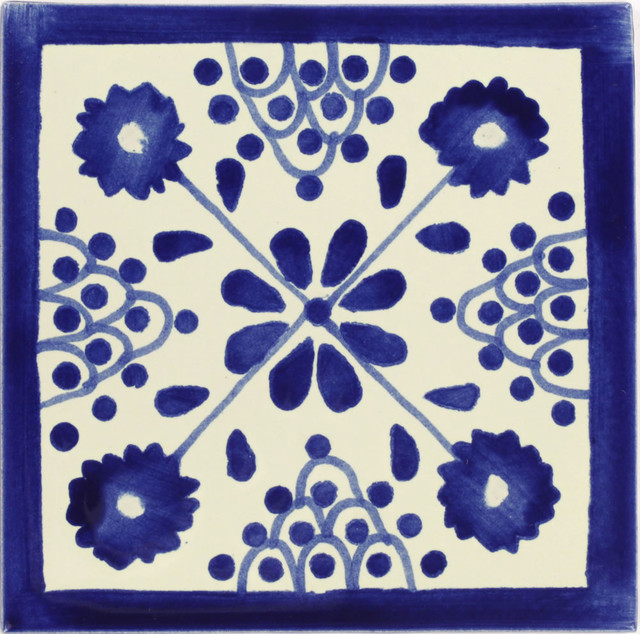 Handmade Tierra Y Fuego Ceramic Tile, Blue Damasco, Set Of 9.
