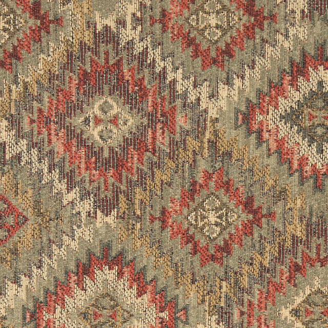Green Gold And Red Diamond Southwest Style Upholstery Fabric By