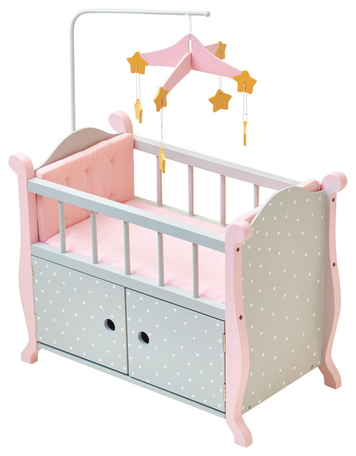 little princess doll furniture nursery crib with storage gray polka dots contemporary kids. Black Bedroom Furniture Sets. Home Design Ideas