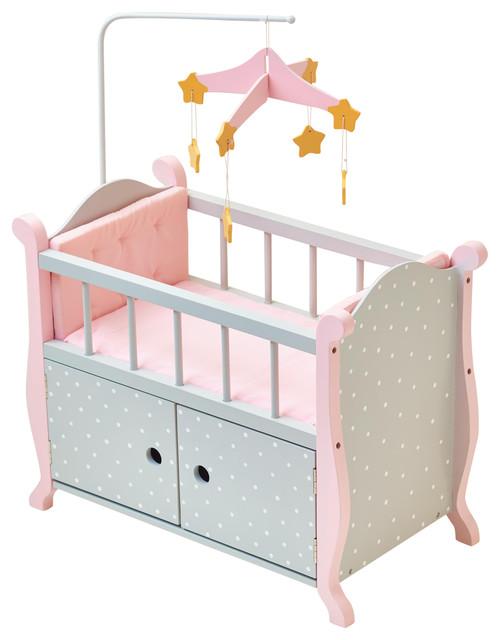 Ordinaire Little Princess Doll Furniture, Nursery Crib With Storage, Gray Polka Dots
