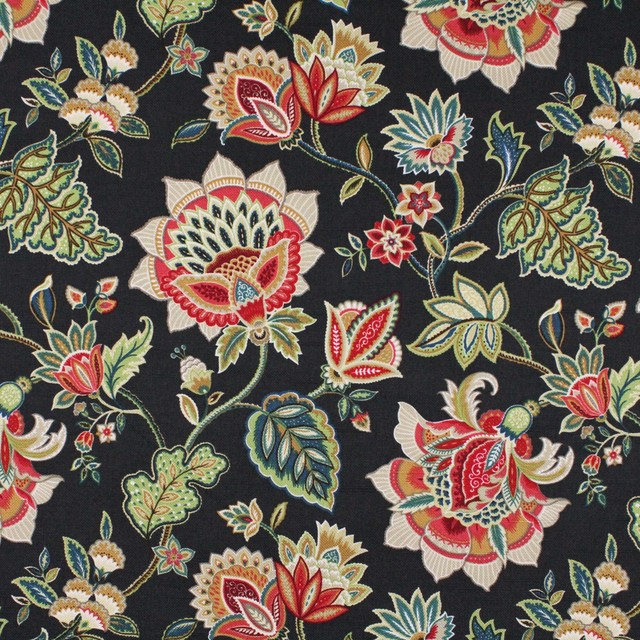 Oxford Grey Black Green Gray Red Floral Print Upholstery Fabric