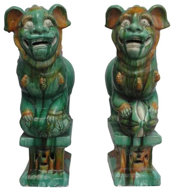 Chinese Green Glaze Ceramic Foo Dog Statue Feng Shui Lion 2 Piece Set