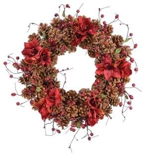 """22"""" Red Amaryllis Pinecone Wreat."""