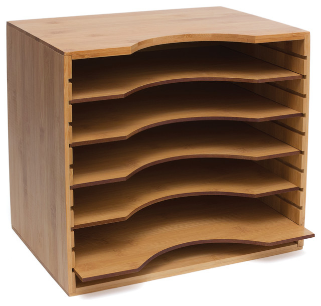 Bamboo File Organizer with 5 Dividers - Transitional - Filing ...