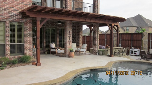 Stained Cedar Curved Lattice Patio Cover Dallas By