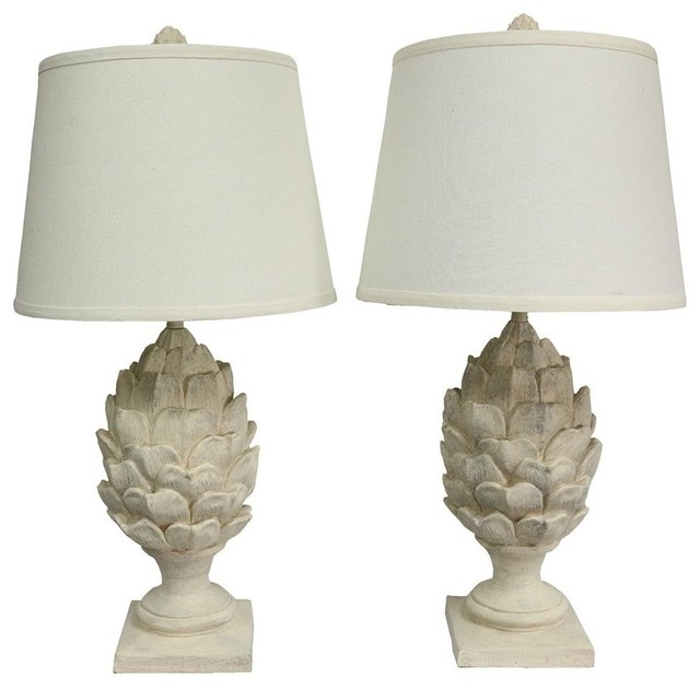 Urbanest Set Of 2 Artichoke Table Lamps, Weathered White