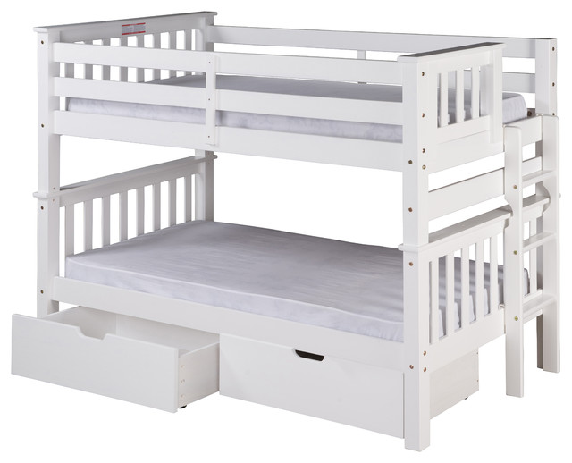 Santa Fe Mission Low Bunk Bed Twin Over Twin Bed End Ladder Drawers White