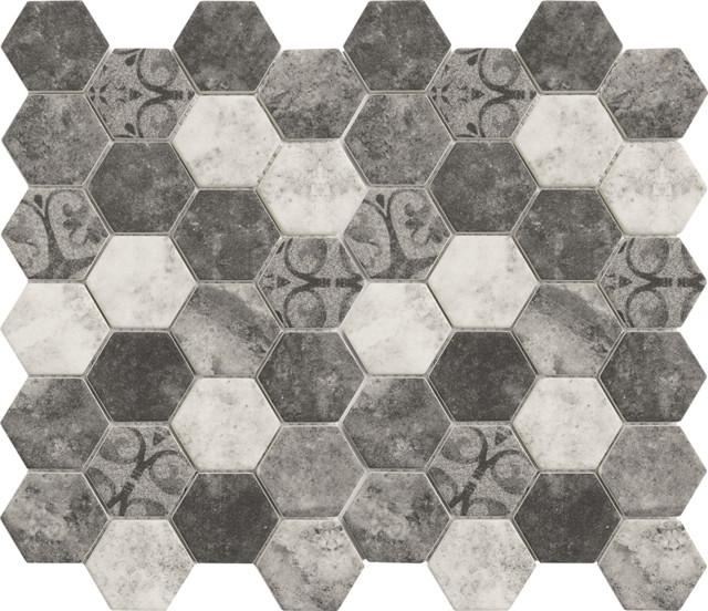 Hexagon Glass Tile Gray Contemporary Mosaic Tile By
