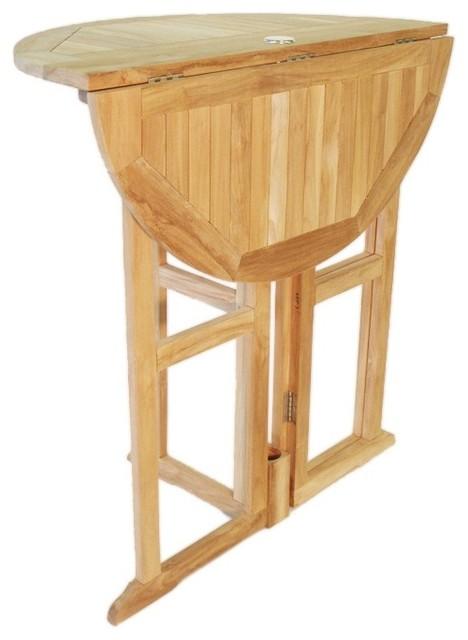 Grade A Teak 39 Round Drop Leaf Bar Table Craftsman Outdoor