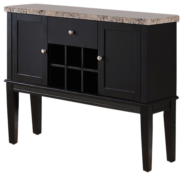 Wood Breakfront Cabinet Buffet Wine Storage Table, Marble Top, Black Finish  Transitional Wine