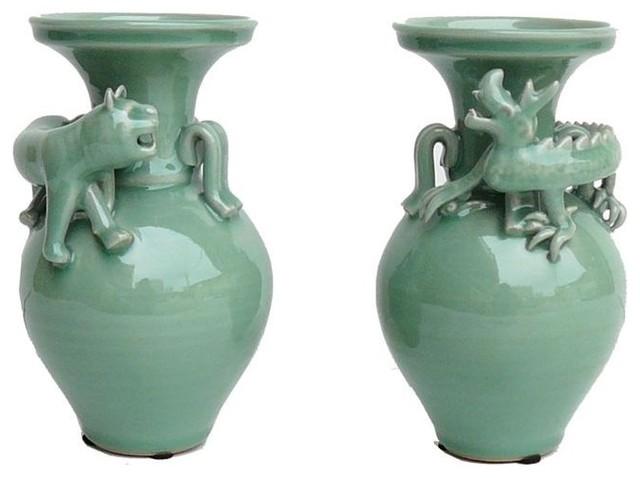 Celadon Green Dragon Tiger Ceramic Vases 2 Piece Set Asian