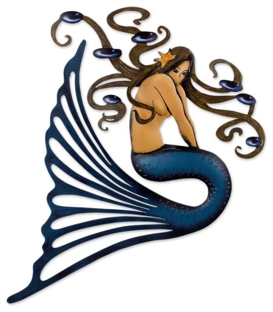 Steel Wall Art Shy Mermaid Mexico Beach Style Metal Wall Art By Novica
