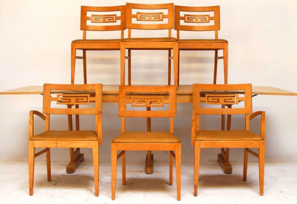 Charmant Dining Set With 6 Greek Key Chairs