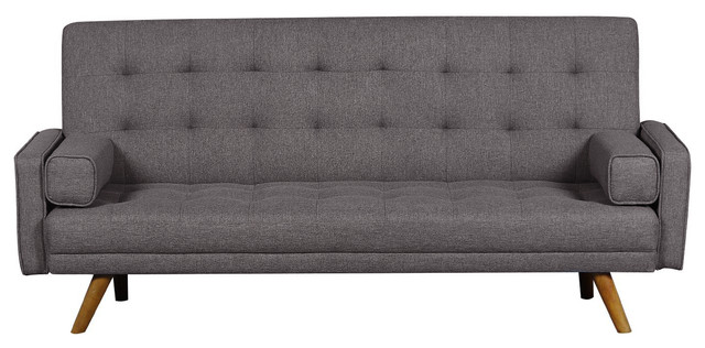 Mid Century Biscuit Tufted Click Sofa With Bolster Pillows by Home Fare