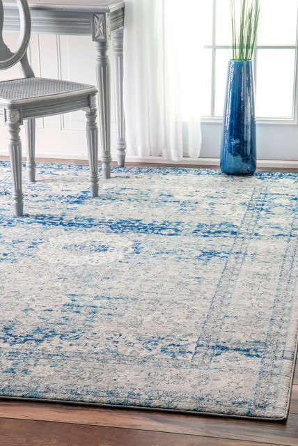 Stafford Distressed Medallion Area Rug, Light Blue, 8'x10'