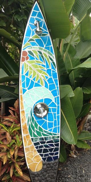 Wave design outdoor shower tropical