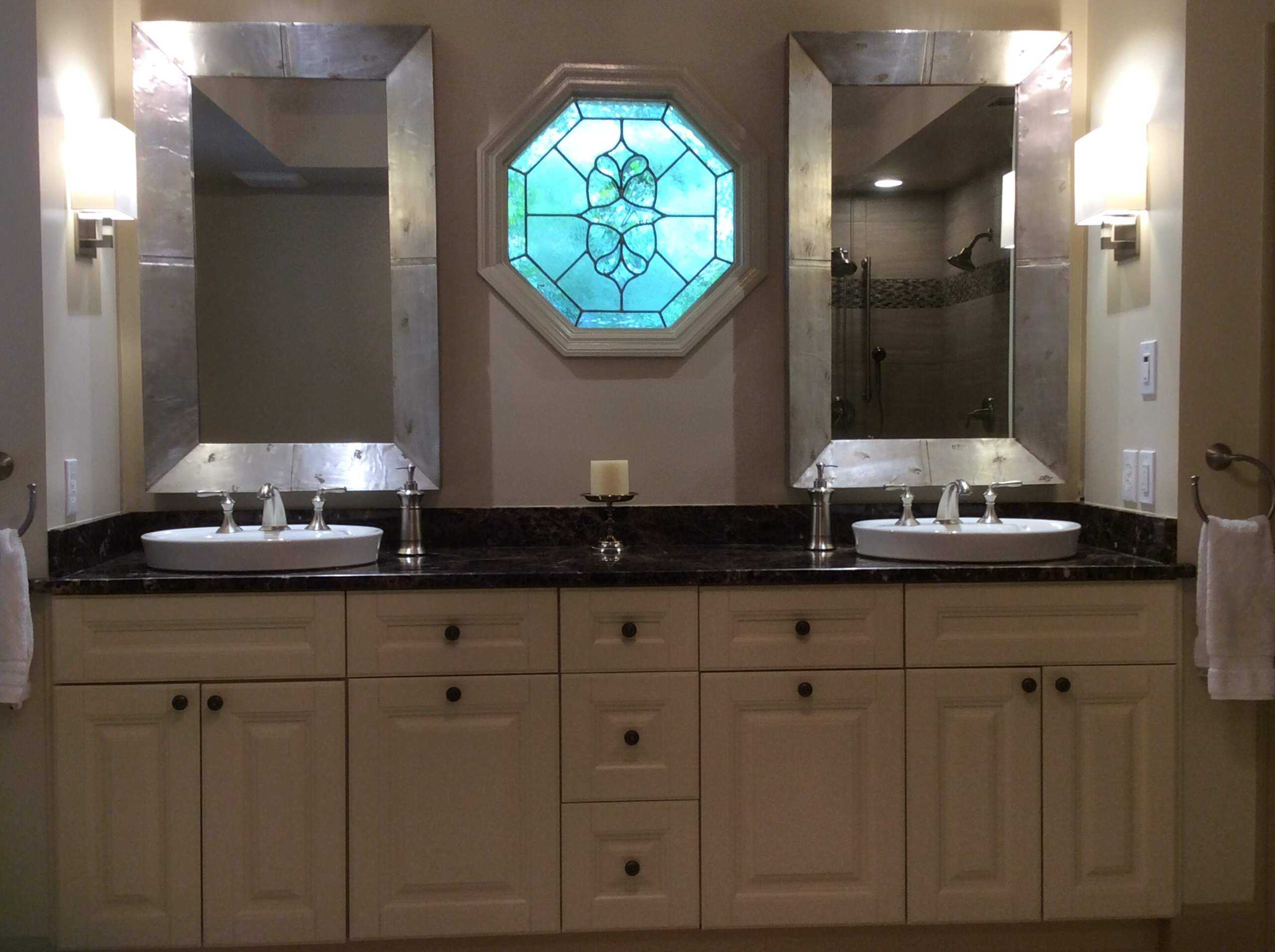 Transitional master bath with morning kitchen