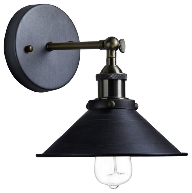 Wall Lamps Industrial : Industrial Aged Steel Finish 1-Light Wall Sconce - Industrial - Wall Sconces - by CLAXY