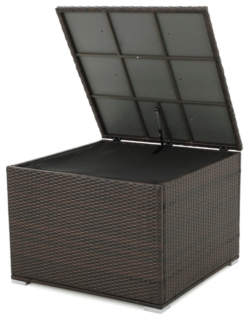 Samoa Brown Wicker Outdoor Storage Box Contemporary Deck Boxes And Storage