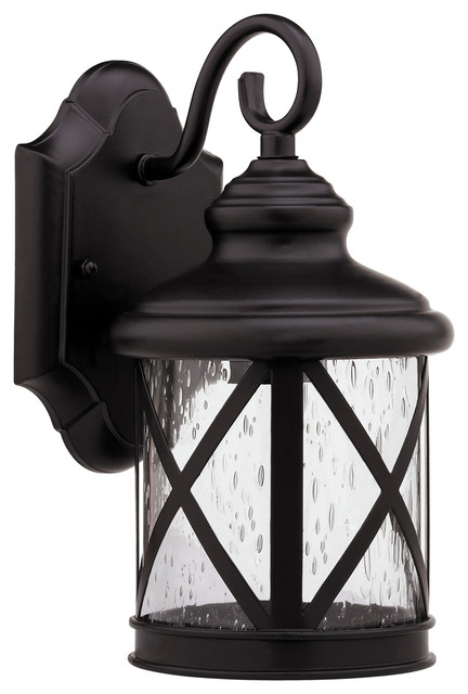 Milania Adora Transitional 1-Light Rubbed Bronze Outdoor Wall Sconce.