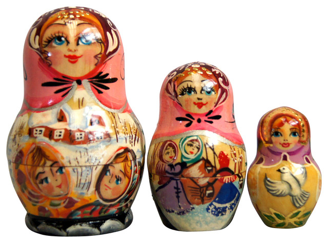 Russian 5 Piece Fairy Tale Nested Doll Set.