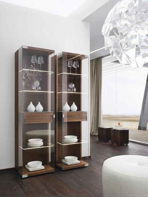 Nox walnut modern display cabinets modern sideboards for Modern china cabinet display ideas