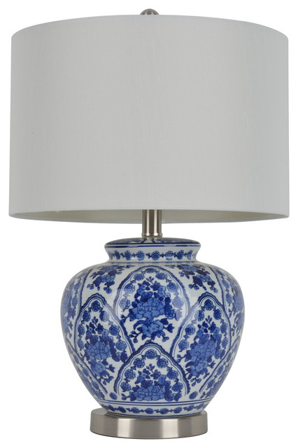 Stacy Table Lamp, Blue And White Farmhouse Table Lamps